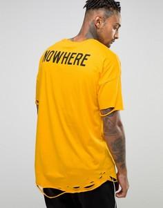 Длинная oversize-футболка с принтом на спине и состаренной кромкой ASOS - Желтый