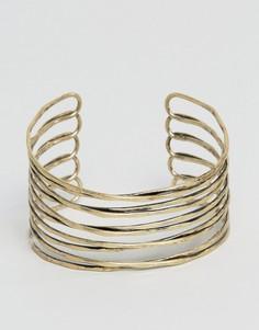 Золотистый браслет-манжета с состаренным эффектом ASOS - Золотой