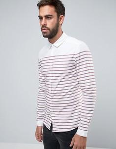 Оксфордская рубашка зауженного кроя с бордовыми полосками ASOS - Красный