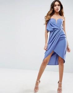 Асимметричное платье на одно плечо ASOS - Синий