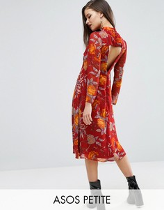 Платье миди с открытой спиной и цветочным принтом ASOS PETITE - Мульти
