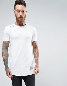 Длинная обтягивающая футболка с закругленным низом из ткани под лен ASOS - Белый