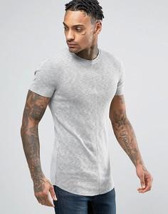 Фактурная обтягивающая футболка в рубчик ASOS - Серый