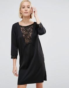 Цельнокройное платье с кружевной вставкой Minimum - Черный