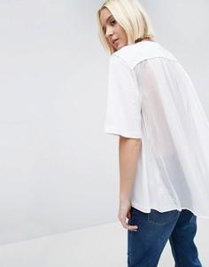 Свободная футболка с тюлевой вставкой на спине ASOS WHITE - Белый