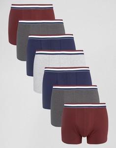 Набор из 7 боксеров-брифов с полосатым поясом ASOS - СКИДКА - Мульти