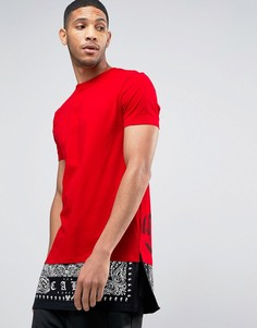 Длинная футболка с принтом на спине и вставкой на кромке ASOS - Красный