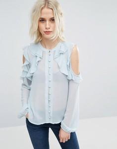 Блузка без воротника с открытыми плечами и оборками ASOS - Синий