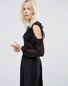 Блузка без воротника с открытыми плечами и оборками ASOS - Черный