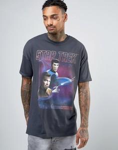 Oversize-футболка с винтажным принтом ASOS Star Trek - Серый