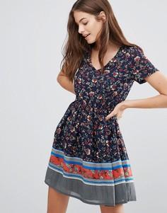 Короткое платье с цветочным принтом Yumi - Мульти