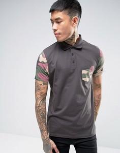 Черная футболка-поло с камуфляжными рукавами ASOS - Черный