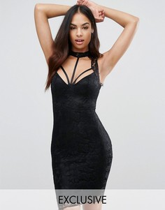 Кружевное платье-футляр миди с отделкой лямками NaaNaa - Кремовый