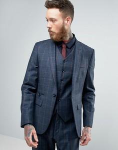 Темно-синий узкий пиджак из 100%-ой шерсти в тонкую клетку ASOS - Темно-синий