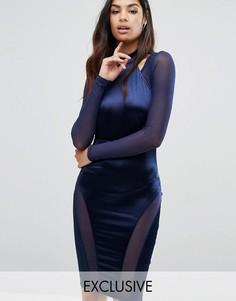 Платье-футляр с высокой горловиной и вырезами NaaNaa - Темно-синий