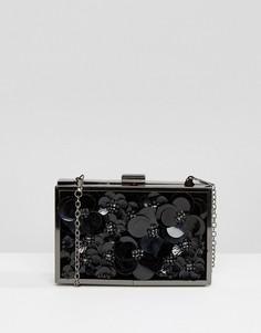 Клатч с цветочной 3D отделкой Boohoo - Черный