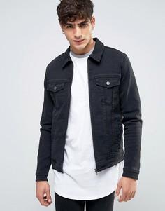 Черная джинсовая куртка скинни в стиле вестерн на молнии ASOS - Черный