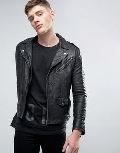 Кожаная байкерская куртка Jack & Jones - Черный
