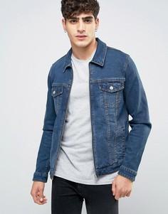 Джинсовая куртка скинни на молнии в стиле вестерн ASOS - Синий