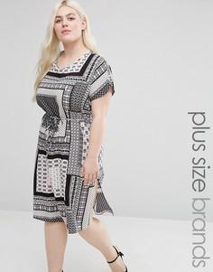 Цельнокройное платье с принтом и разрезами по бокам Koko Plus - Черный