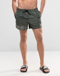 Короткие шорты для плавания в клетку цвета хаки ASOS - Зеленый