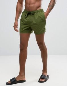 Короткие шорты для плавания цвета хаки ASOS - Зеленый