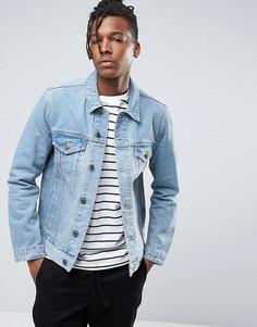 Синяя выбеленная джинсовая куртка узкого кроя ASOS - Синий