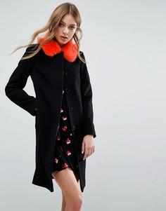 Пальто в винтажном стиле с контрастным воротником из искусственного меха Helene Berman - Черный