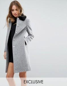 Пальто в винтажном стиле с контрастным воротником из искусственного меха Helene Berman - Серый