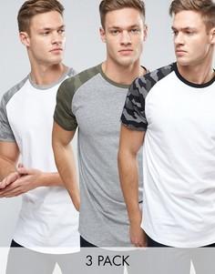 3 футболки с камуфляжными рукавами реглан ASOS - СКИДКА 17 - Мульти Jack & Jones