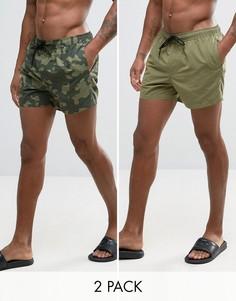 2 пары коротких шортов для плавания (хаки, камуфляжные) ASOS - СКИДКА - Зеленый
