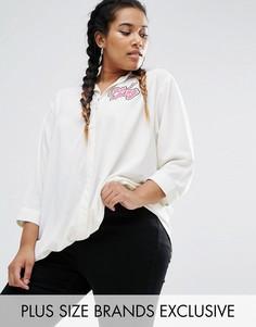 Рубашка с ассиметричной кромкой и длинными рукавами Daisy Street Plus - Белый