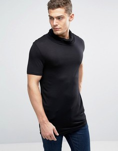 Черная длинная футболка с драпированной горловиной ASOS - Черный