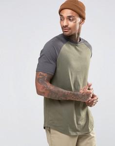 Длинная футболка с контрастными рукавами реглан и закругленным низом ASOS - Белый