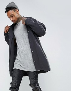 Выбеленная черная длинная oversize-куртка из трикотажа ASOS - Бежевый
