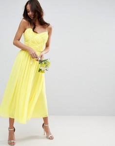 Присборенное платье миди ASOS WEDDING - Желтый