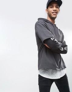 Oversize-худи с двухслойными рукавами с принтом ASOS - Черный