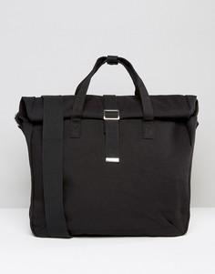 Черный парусиновый портфель с отворотом верхней части ASOS - Черный