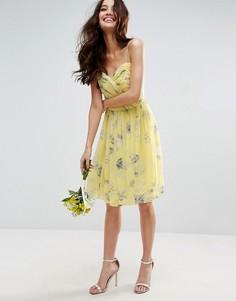 Платье мини со сборками и цветочным принтом ASOS WEDDING - Мульти