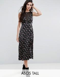 Чайное платье с цветочным принтом и кружевной вставкой ASOS TALL - Черный