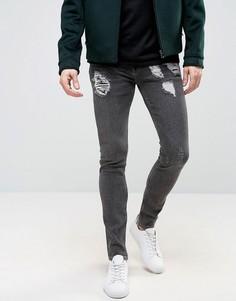Супероблегающие рваные джинсы серого винтажного цвета ASOS - Серый
