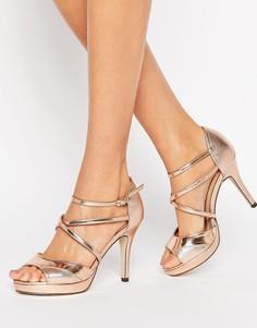 Золотисто-розовые сандалии на каблуке и платформе True Decadence - Золотой