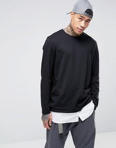 Длинный лонгслив с подолом в стиле рубашки ASOS - Черный