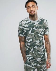 Меланжевая футболка с камуфляжным принтом ASOS - Зеленый