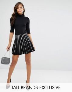 Комбинируемая трикотажная юбка в контрастную полоску Y.A.S Tall - Черный