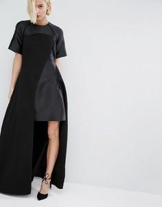 Фактурное платье макси с контрастными вставками ASOS WHITE - Черный