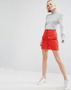 Мини-юбка на пуговицах ASOS - Красный