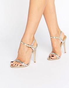Босоножки на каблуке с переплетенными ремешками Public Desire Annabelle - Серебряный