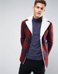 Шерстяное клетчатое пальто на подкладке из искусственного меха Sisley - Красный