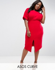 Платье с разрезом спереди ASOS CURVE - Красный